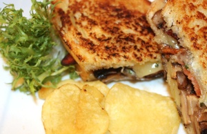 Grilled Cheese Sandwich with bacon and mushrooms