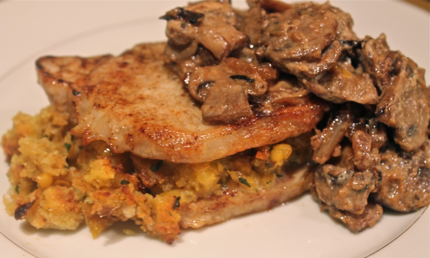 Stuffed pork chop with corn