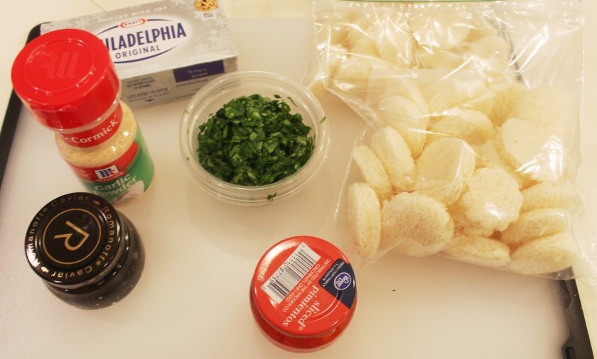 Ingredients for Watercress and cream cheese canapes