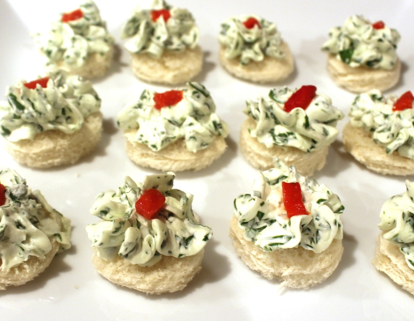 Watercress and cream cheese canapes