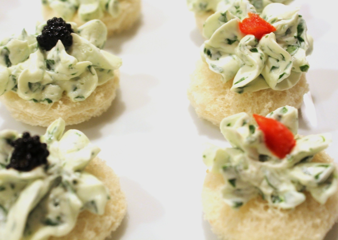 Watercress and caviar canapes