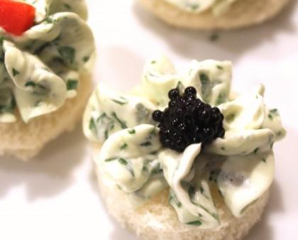 Watercress and caviar canape