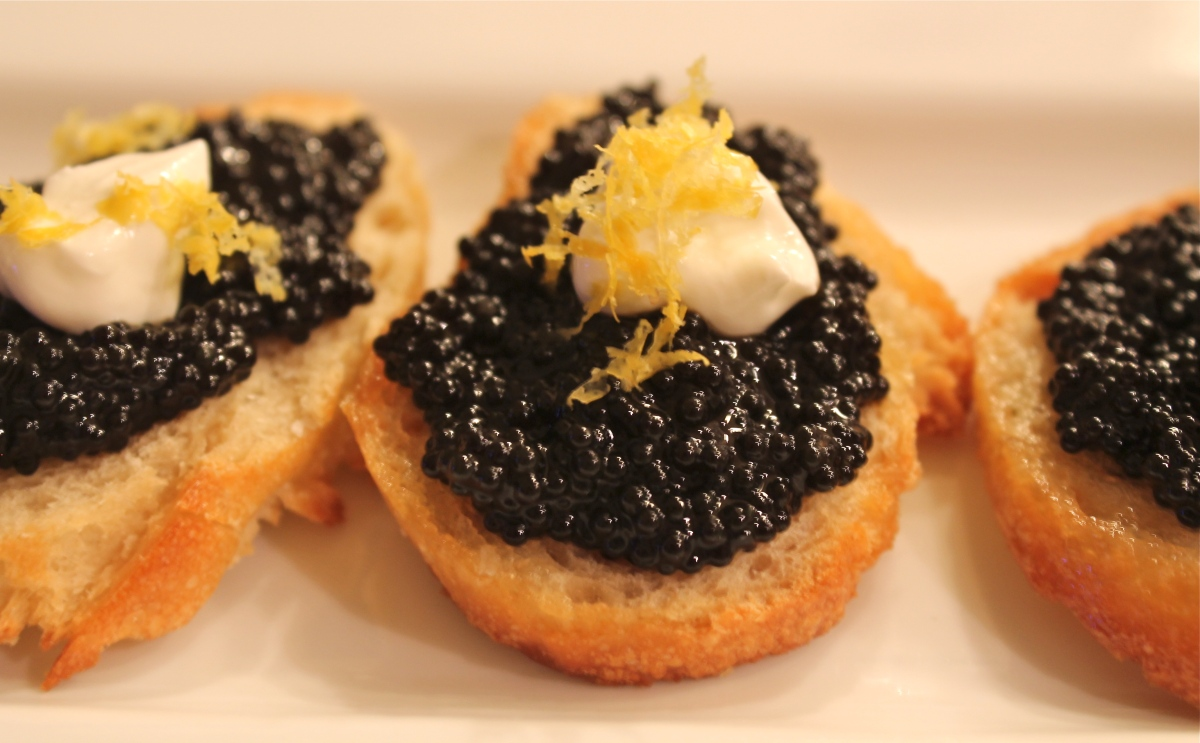 black and white canape caviar crostini