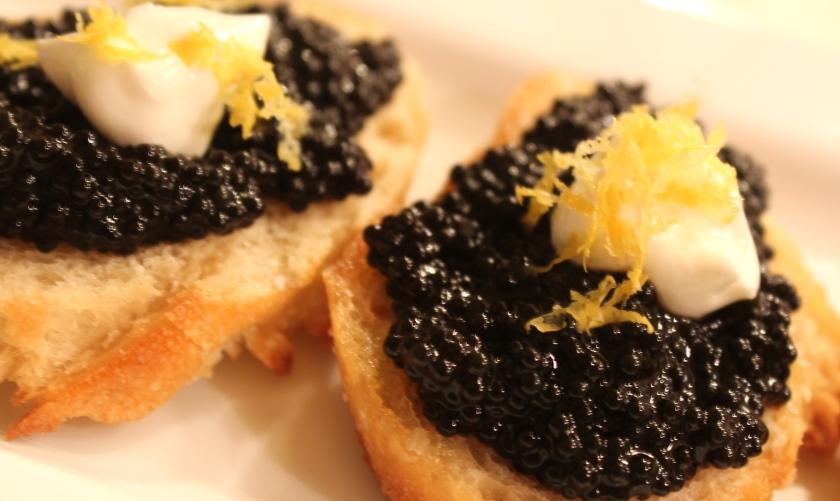 Caviar crostini with creme fraiche