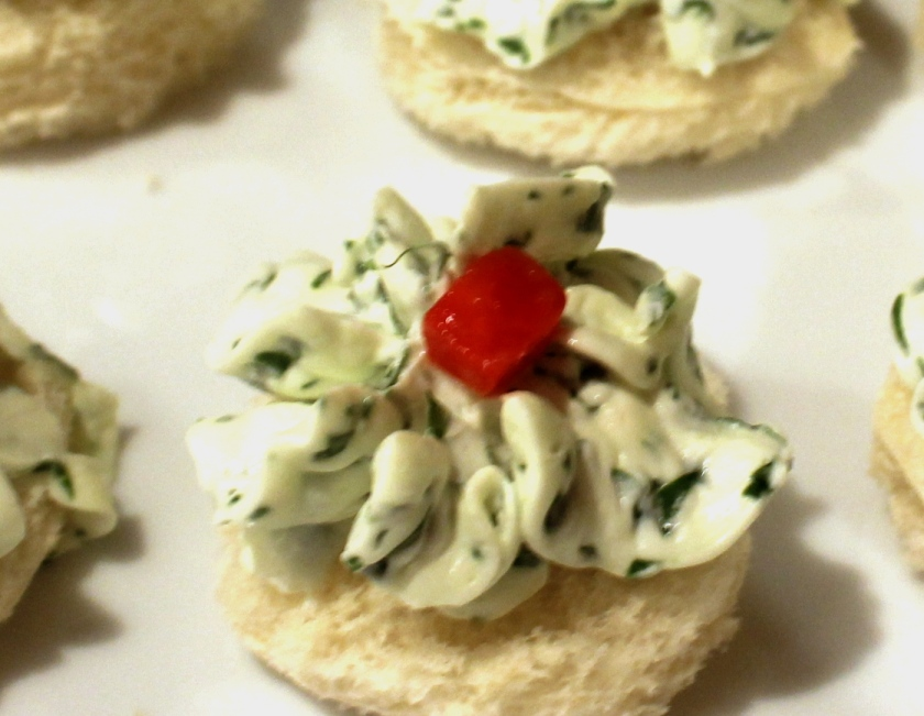 Watercress and cream cheese canape
