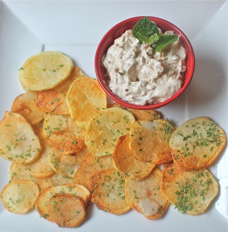 Carmelized onion dip with Parsley Chips