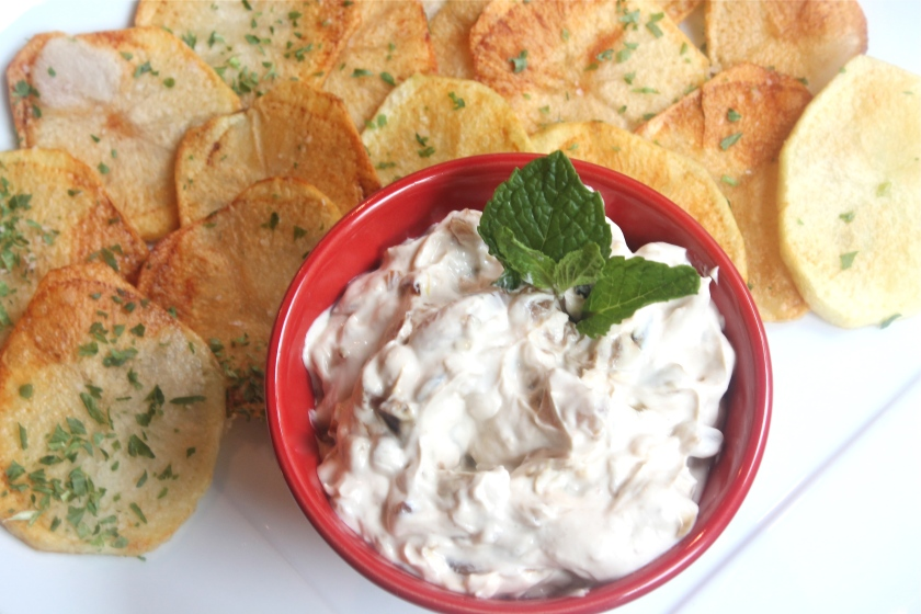 Carmelized Onion Dip with Chips