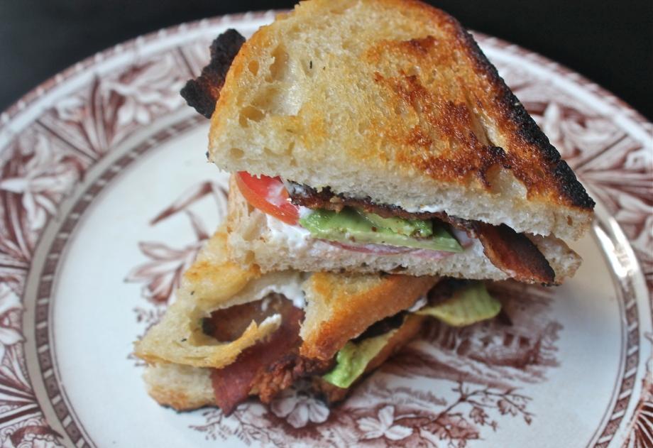 Green Goddess Sandwich with bacon