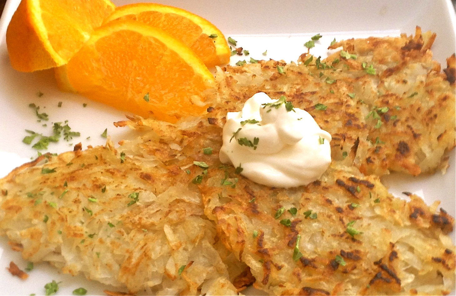 Crispy hash browns ready to eat!