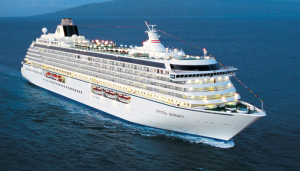 View of our ship, Crystal Cruises Serenity