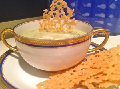 Creamy zucchini soup with Parmesan Crisps