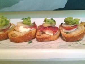 Prosciutto and Guacamole Crostini
