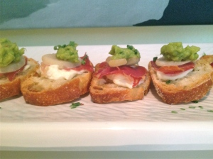 Prosciutto and Guacamole Crostini
