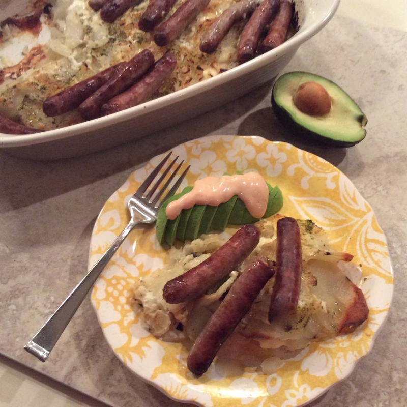 Scalloped Potatoes with Link Pork Sausage