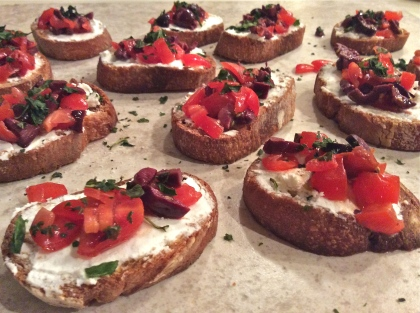 Goat Cheese and Kalamata Crostini